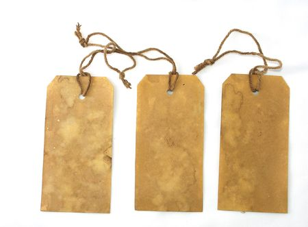 Three large tags isolated on white Stock Photo