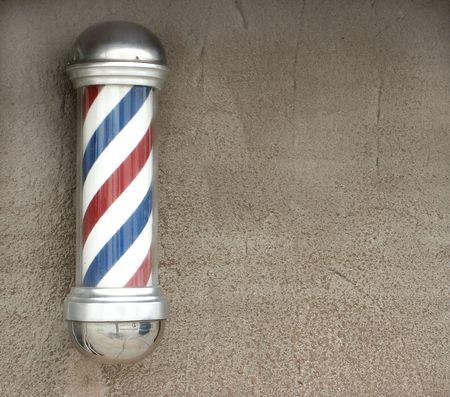 barbershop: Rode, witte en blauwe vintage barber paal