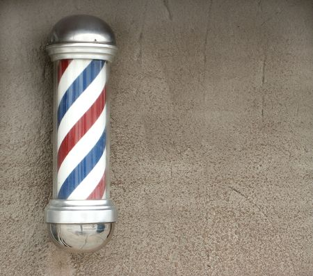 salon background: White, blue, and red vintage barbers pole
