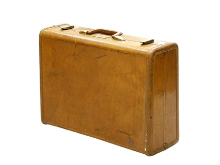 Vintage brown suitcase isolated on white