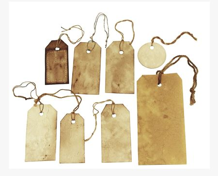 Stained tags isolated on white background