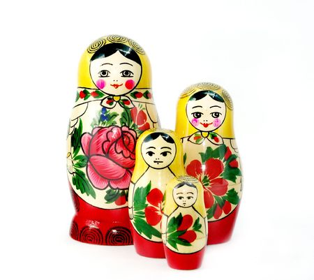 Four Russian nesting dolls isolated on white