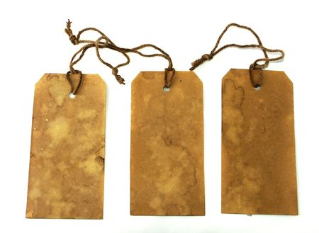 Large stained tags with strings