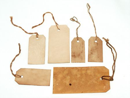 Choice of grungy tags with strings Stock Photo