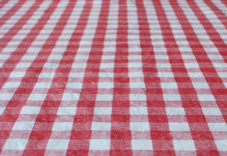 table top: White and red tablecloth for background