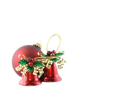 Three Christmas ornaments with space for text photo