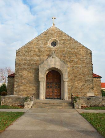 Enterance of an old Catholic church photo