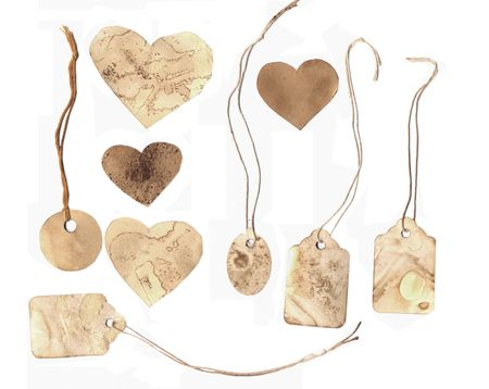 Grungy tags and hearts isolated on white