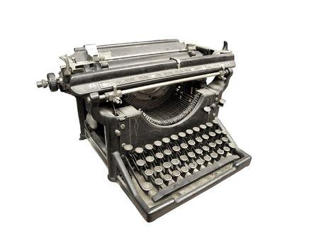 Black and white typewriter isolated on white