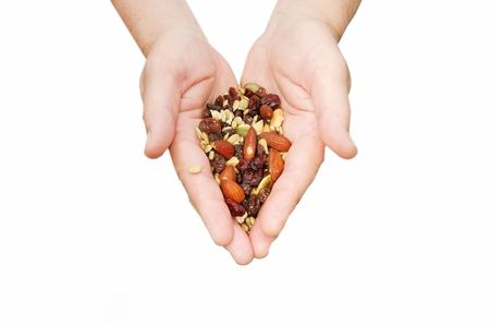 Healthy snack in womans hands Stock Photo