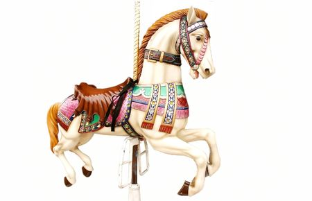 Merry-go-round horse isolated on white Stock Photo