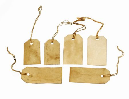 Set of brown grungy tags Stock Photo
