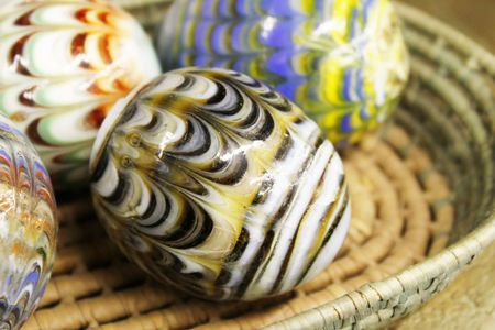 Marble eggs in a basket
