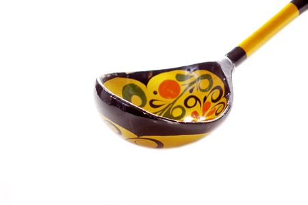 Russian wooden spoon on white Stock Photo
