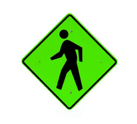 cross street with care: Green walking path sign on white