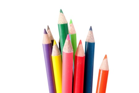 Color pencils on white background Imagens - 7472945