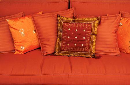 Cushions on sofa Stock Photo