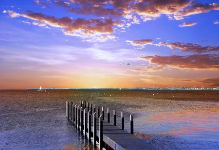 Sunset Pier Stock Photo - 6797654