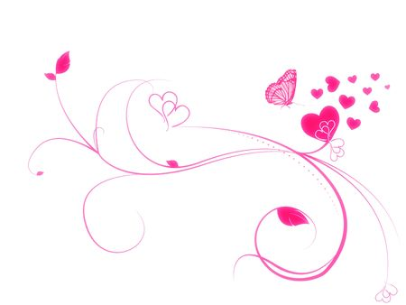 Hearts and Butterflie Background photo