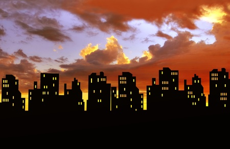 City skyline silhouettes Stock Photo - 8357260