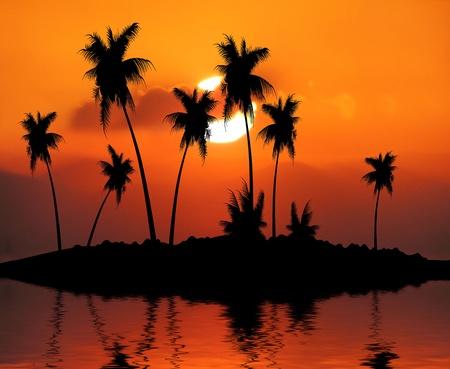 Tropical Island Sunset Illustration illustration