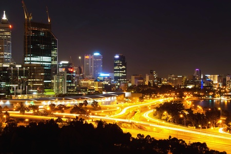 Perth  Western Australia by night Stock Photo