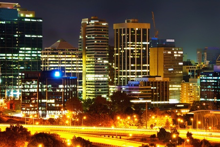 perth: Perth  Western Australia by night Stock Photo