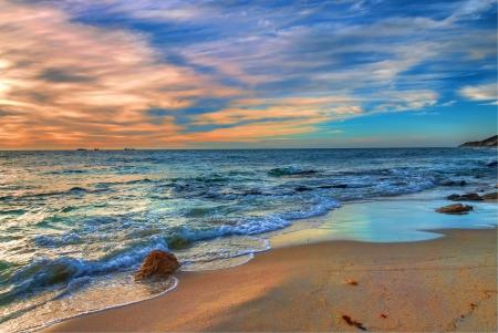 puesta de sol: Puesta del sol playa de Perth en Australia Occidental