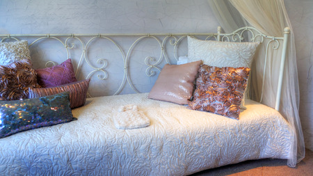 daybed: Pretty  pillows on a daybed