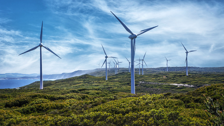 Éoliennes au parc éolien d'Albany, Australie occidentale Banque d'images