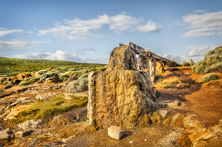 The Historic Water Wheel at Cape Leeuwin a rocky coastal area south-westerly of the Western Australia 스톡 콘텐츠