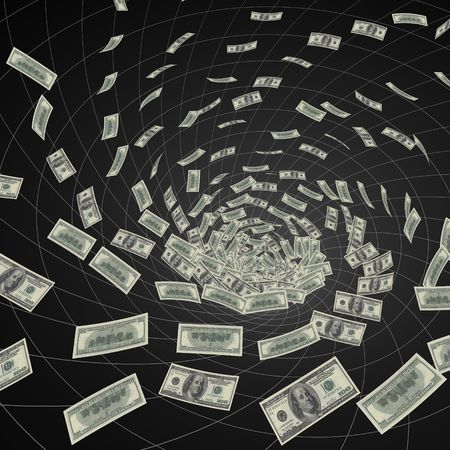 vanishing: hundred dollar bills  vanishing into black hole Stock Photo
