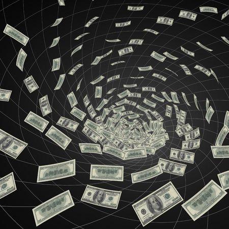 losing money: hundred dollar bills  vanishing into black hole Stock Photo