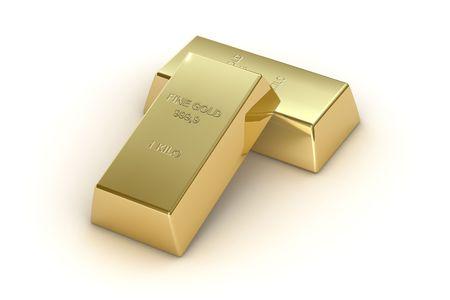 1 kg gold bars, isolated on  white background