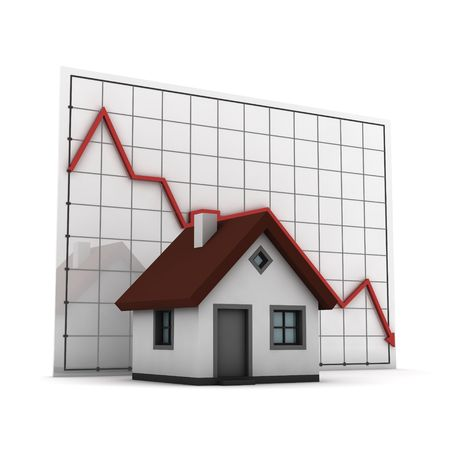 house prices: house against chart of  real estate market, isolated  on white background