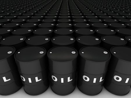 refined: rows of oil barrels stretching to horizon Stock Photo