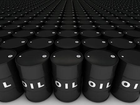 rows of oil barrels stretching to horizon Standard-Bild