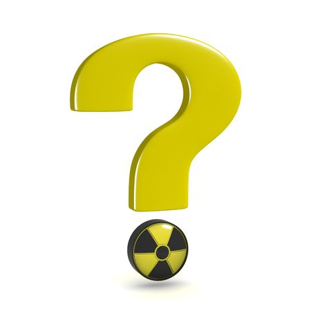 question mark with nuclear power symbol, isolated on white background Standard-Bild