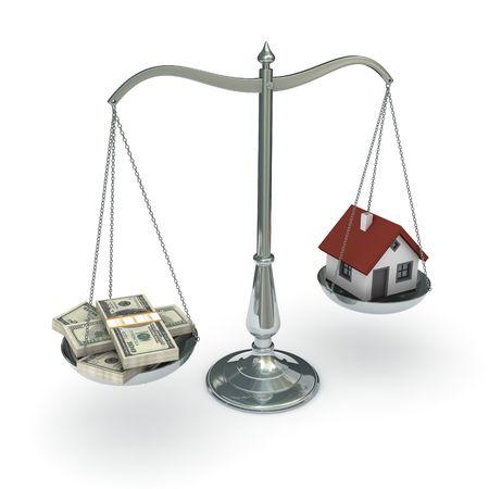 valor: cl�sico de escala de la justicia con una casa y packs de cientos de d�lar de facturas, aislados en fondo blanco