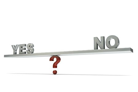 stylized seesaw on a  question mark with words  YES and NO, isolated on  white background