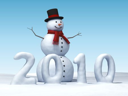 3D smiling snowman with  new year numbers