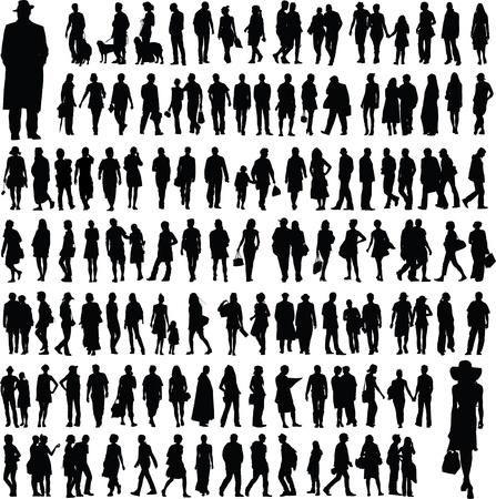 parejas caminando: colecci�n de siluetas de personas Vectores