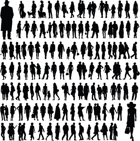 ni�os caminando: colecci�n de siluetas de personas Vectores
