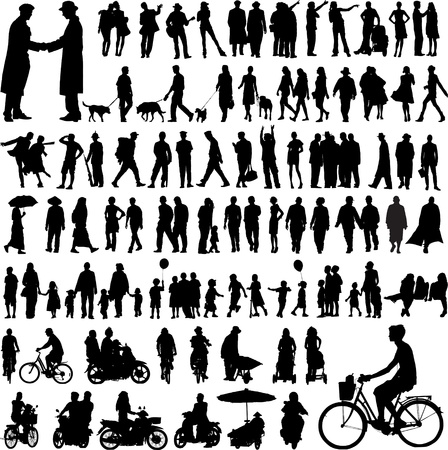dog walking: collection of people silhouettes