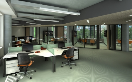 interior spaces: Rendering of a modern office interior  Stock Photo