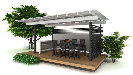 Rendering of an outdoor kitchen and dining area, isolated on white