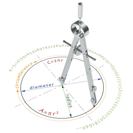 diameter: Illustration of circle formulas with compasses, isolated on white Stock Photo