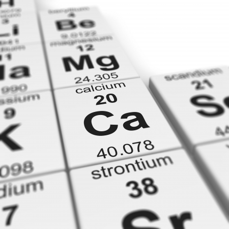 deficiency: Periodic table of elements, focused on calcium  Stock Photo