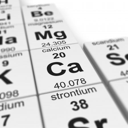 calcium: Periodic table of elements, focused on calcium  Stock Photo