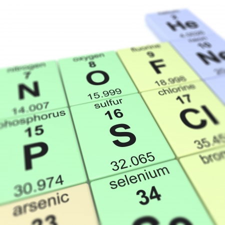 Periodic table of elements, focused on sulfur  Stock Photo